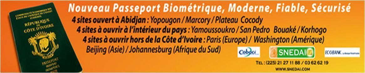 NOUVEAU PASSEPORT BIOMETRIQUE DE COTE D'IVOIRE